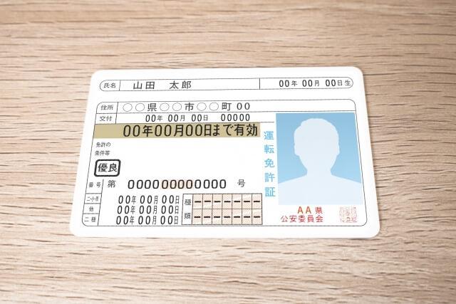 机に置かれた免許証